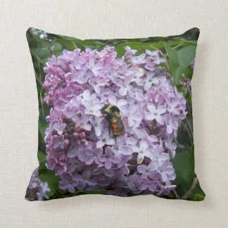 Bumblebee And Lilac Tree Throw Pillow