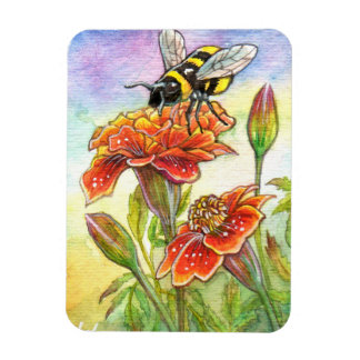 Bumblebee And Marigold Magnet