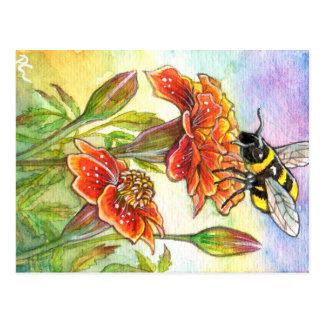 Bumblebee And Marigold Postcard