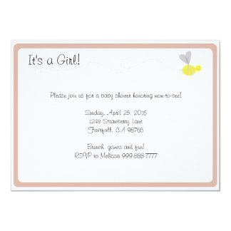 Bumblebee Baby Shower Pink Trim Card