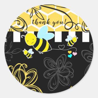 Bumblebee Black & Yellow Baby Shower Modern Chic Classic Round Sticker