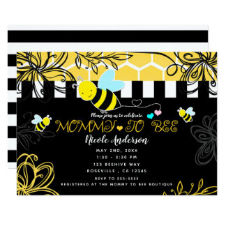 Bumblebee Black & Yellow Baby Shower Mommy to BEE Card
