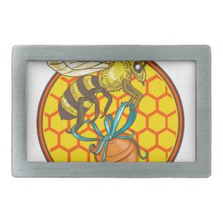 Bumblebee Carrying Honey Pot Beehive Circle Belt Buckle