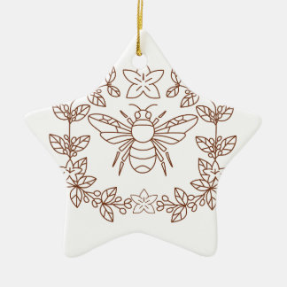 Bumblebee Coffee Flower Leaves Icon Ceramic Ornament