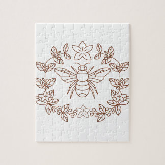 Bumblebee Coffee Flower Leaves Icon Jigsaw Puzzle