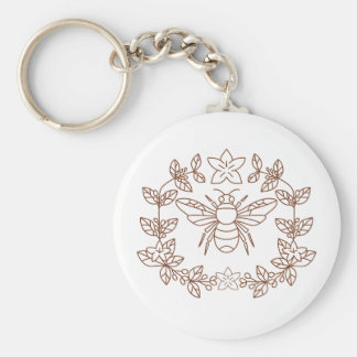 Bumblebee Coffee Flower Leaves Icon Keychain