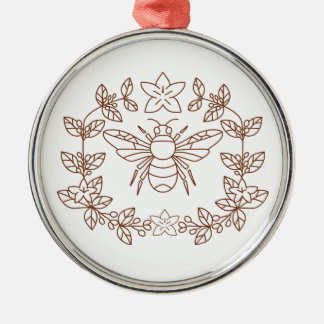 Bumblebee Coffee Flower Leaves Icon Metal Ornament