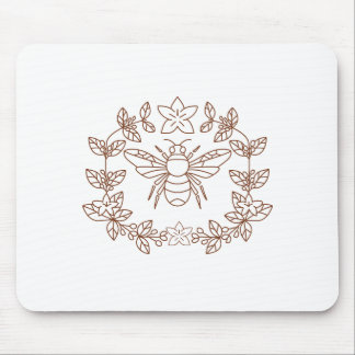 Bumblebee Coffee Flower Leaves Icon Mouse Pad
