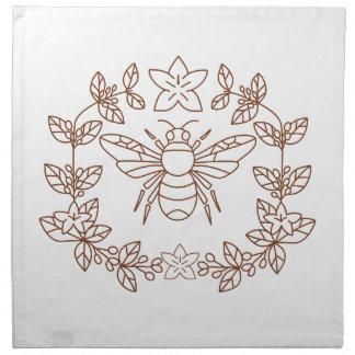 Bumblebee Coffee Flower Leaves Icon Napkin
