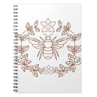 Bumblebee Coffee Flower Leaves Icon Notebook
