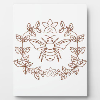 Bumblebee Coffee Flower Leaves Icon Plaque