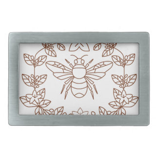Bumblebee Coffee Flower Leaves Icon Rectangular Belt Buckle