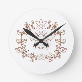 Bumblebee Coffee Flower Leaves Icon Round Clock