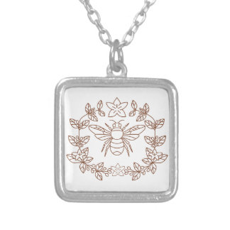 Bumblebee Coffee Flower Leaves Icon Silver Plated Necklace