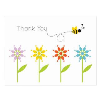 Bumblebee Daisy Garden Thank You Postcard