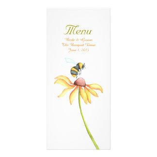 Bumblebee Daisy Watercolor Wedding Menu Custom Rack Cards
