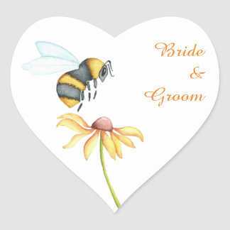 Bumblebee Daisy Watercolor Wedding Stickers