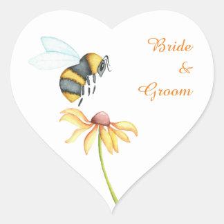 Bumblebee Daisy Watercolor Wedding Stickers