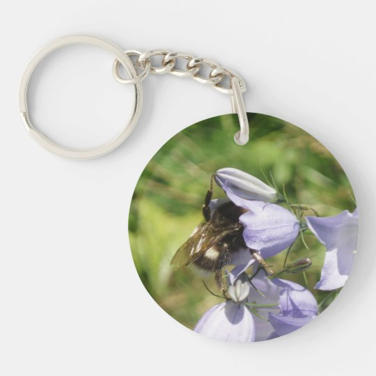 Bumblebee flower photo keychain