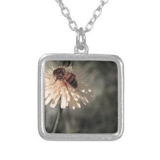 Bumblebee on flower silver plated necklace