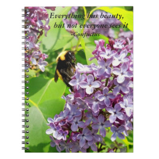 Bumblebee on Lilac Confucius Quote Notebook