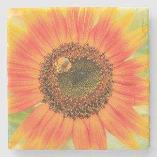 Bumblebee on sunflower, Community Garden Stone Beverage Coaster