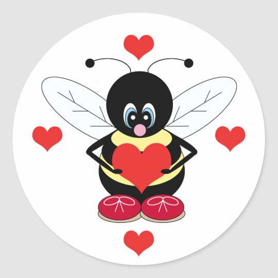 Bumblebee with Hearts Stickers