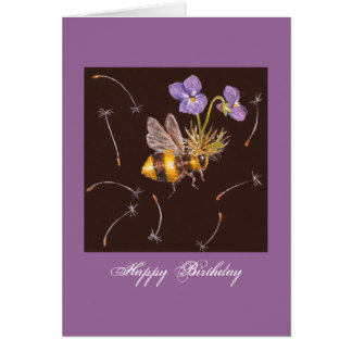 bumblebee with violets birthday greeting card
