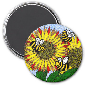 Bumblebees And Sunflowers Magnet