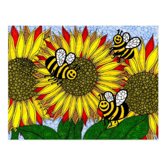 Bumblebees And Sunflowers Postcard