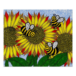 Bumblebees And Sunflowers Poster