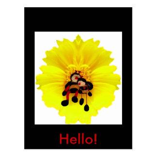 BumbleBees & Flower Postcard