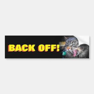 Bumper Cat Screams Back off  Animal Meme Bumper Sticker