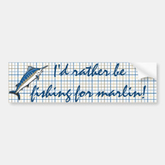 Bumper Sticker - Blue Marlin on Plaid