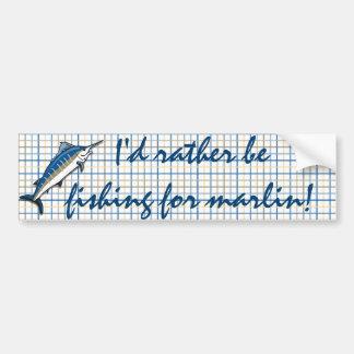 Bumper Sticker - Blue Marlin on Plaid