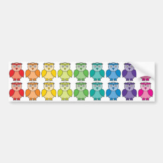 Bumper Sticker - Cute Rainbow Owl Pattern