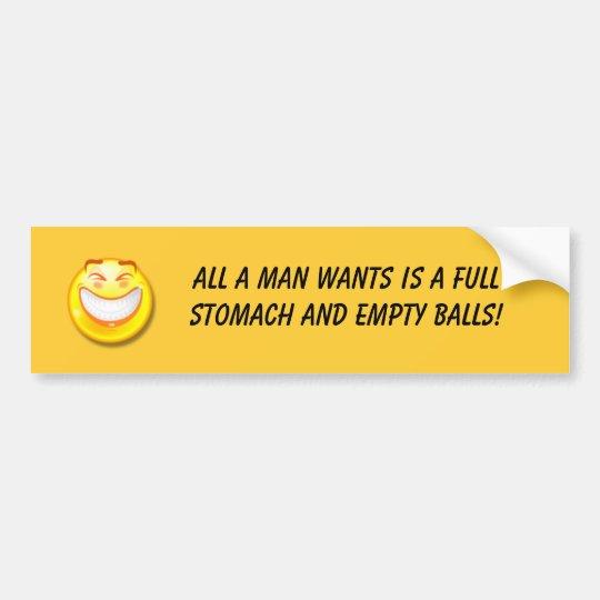 Bumper sticker for men