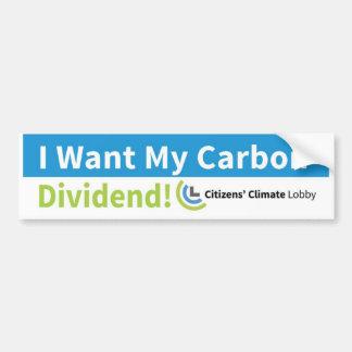 Bumper Sticker: I Want My Carbon Dividend Bumper Sticker