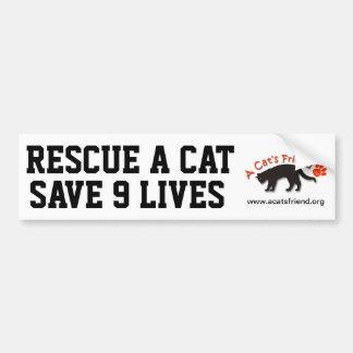 Bumper Sticker: Rescue a Cat Save 9 Lives Bumper Sticker