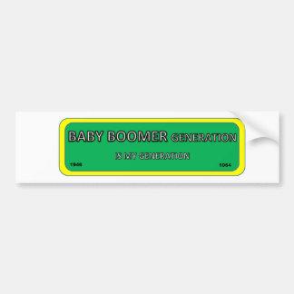 Bumper/window sticker BABY BOOMER generation