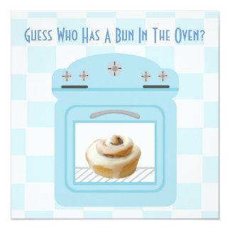 Bun In The Oven Baby Boy Blue Baby Shower Card