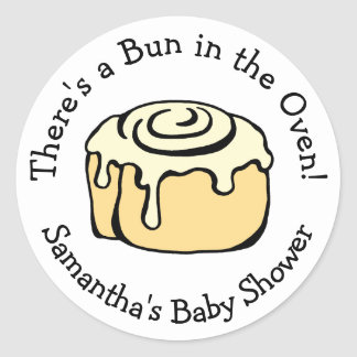 Bun in the Oven Cinnamon Roll Baby Shower Custom Classic Round Sticker