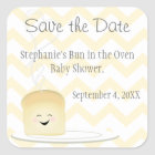 Bun in the Oven Gender Neutral Save the Date Square Sticker