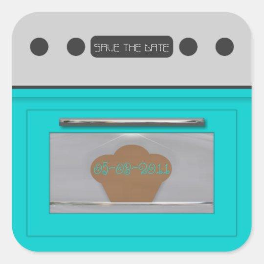 Bun in the oven; save the date sticker-aqua square sticker