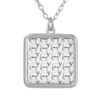 bunch of bad bulls silver plated necklace