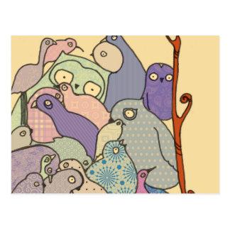 bunch of birds blue tint mosaic postcard