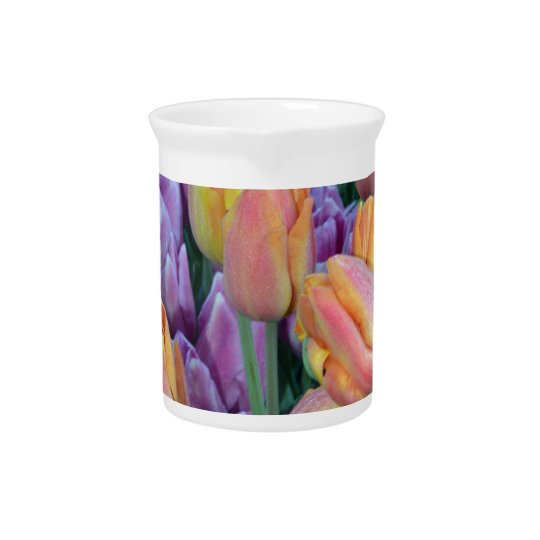 Bunch of colorful tulips beverage pitcher
