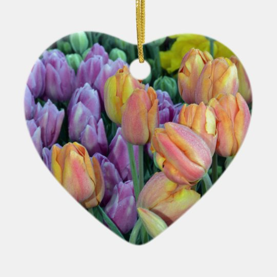Bunch of colorful tulips ceramic heart ornament