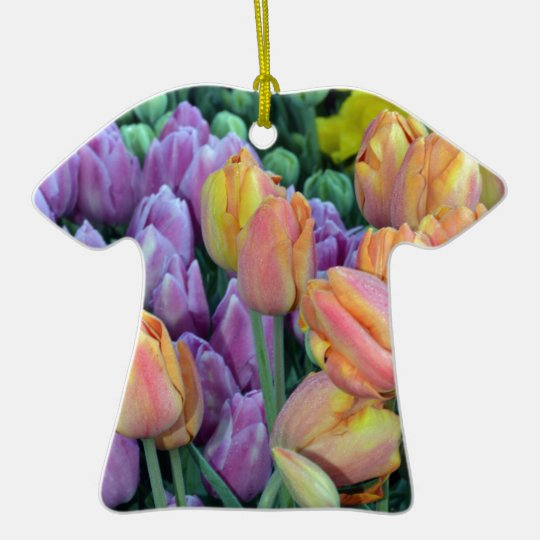 Bunch of colorful tulips ceramic T-Shirt ornament