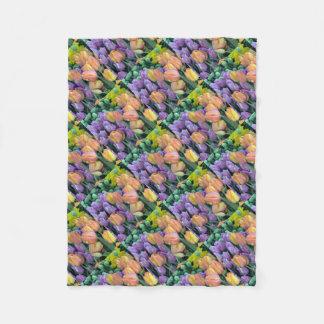 Bunch of colorful tulips fleece blanket